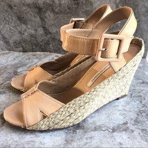 DvF beige espadrille wedge sandal heels